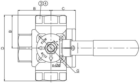 3-Way Ball Valve (L/T Type) (Reduce Bore 1000PSI)