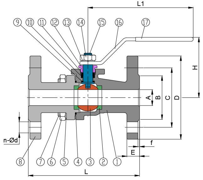 2-PC Flanged Ball Valve (Full Bore DIN-F4 PN16)